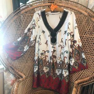 Zara Basic beaded kaftan style tunic dress